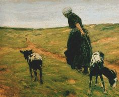 Woman And Her Goats In The Dunes Cross Stitch Pattern