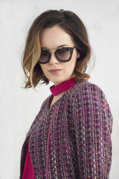 Designer magenta boucle coat from IvanaRosova and Miu Miu sunglasses are a perfect match ! #IWearIvanaRosova www.ivanarosova.com