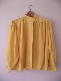 100 Silk Blouse by Portegaz Made in Canada Yellow by shop454, $37.00