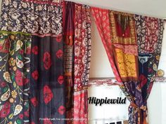 Boho Curtains by Hippiewild Cozy Patio, Rustic Patio, Bohemian Curtains, Bohemian Decor, Bohemian Style, Wall Seating, Patio Seating, Patio Door Coverings, Patchwork Curtains