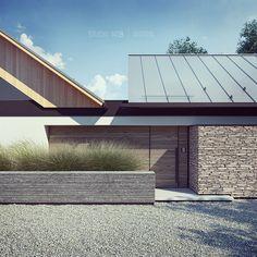 Mooie combi steen, horizontaal hout en dak van zink