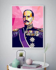 Nyhet! Nå har vi lansert Kong Haakon VII i rosa! Denne unike plakaten er kun trykket i begrenset opplag på 100 stykker
