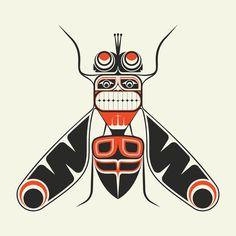 The Housefly by Brian W. Native American Design, American Indian Art, Arte Tribal, Tribal Art, Fly Drawing, Crab Art, Haida Art, Organic Art, Insect Art