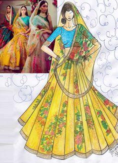 Purchase Yellow Colour Tissue Lehenga Choli On-line Fashion Illustration Tutorial, Dress Illustration, Fashion Illustration Dresses, Fashion Illustrations, Fashion Design Sketchbook, Fashion Sketches, Fashion Drawing Dresses, Dress Sketches, Fashion Figures