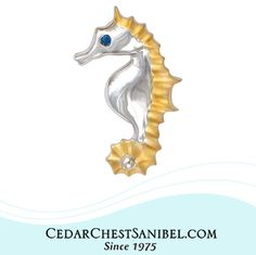 Natural beauty just never goes out of style!   Sterling Silver and 14Kt Gold Seahorse Pendant with Sapphire in our Penny James Jewelry Co. Collection