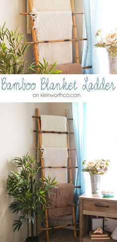 This beautiful Bamboo Blanket Ladder is simple to make. Just 4 pieces of bamboo, screws & some twine & you can add a beachy feel & function to your decor. on kleinworthco.com