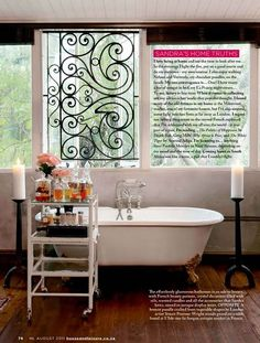 What a great idea: use a gate segment as a window treatment. This one is especially beautiful.