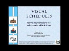 A visual schedule is a sequence of pictures, objects, or words that may represent each major transitionduring the day or the steps in an activity. Learn how to create schedules Autism Resources, Visual Schedules, Communication, Preschool, Parenting, Teacher, File Folders, Professor, Kindergarten