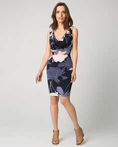 Elegance meets chic in a cowl neck dress designed with a stunning V-back and soft rushing for form-flattering appeal. Its 3 tone floral print design will make your look blossom.