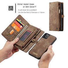 CaseMe iPhone 11 Pro Zipper Wallet Detachable 2 in 1 Case Coffee Iphone 7 Covers, Iphone 11, Iphone Cases, Leather Wallet, Pu Leather, Leather Cover, Leather Fashion, Zipper, Coffee
