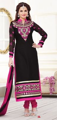 Black Cambric Cotton embroidered semi stitiched salwar with dupatta