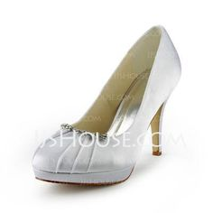 Wedding Shoes -  Satin Stiletto Heel Closed Toe Platform Pumps Wedding Shoes With Rhinestone (047017775) http://jjshouse.com/Satin-Stiletto-Heel-Closed-Toe-Platform-Pumps-Wedding-Shoes-With-Rhinestone-047017775-g17775