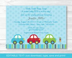 Personalizing and printing your own invitations has never been easier! This listing is for a professionally designed EDITABLE PDF template.