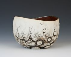 Cup with lunar surface, tall-James Whiting Ceramics Raku Pottery, Pottery Bowls, Pottery Art, Ceramic Clay, Ceramic Bowls, Earthenware, Stoneware, Clay Bowl, Keramik Vase