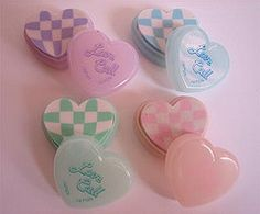 Set of Love Call cased erasers (Iron Lace) Tags: cute japan heart eraser kitsch 80s kawaii 1980s stationery erasers gommes lovecall