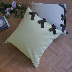 【カバー+ヌードクッション】 canvas chambray クッションセット ribbon SQ   le mum online shop