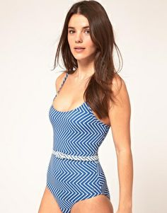 French Connection Zig Zag Belted One Piece $80.02