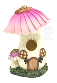 Birdhouse Resin Mushroom Out Doors Design Decorative Hanging New
