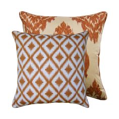 Fabric Combo of Robert Allen's Ikat Fret in Mango and Duralee's Kalah in Spice. Also available in dark blue.