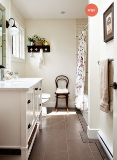 like this tile on the floor and the white colors, but think it is a good idea to put wainscot up in a boy bath.
