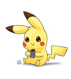 Pikachu loves chocolate by Necrobaph on DeviantArt Cute Panda Wallpaper, Cute Pokemon Wallpaper, Cute Disney Wallpaper, Cute Cartoon Wallpapers, Pikachu Drawing, Pikachu Art, Pokemon Mew, Pikachu Bebe, Cute Pikachu