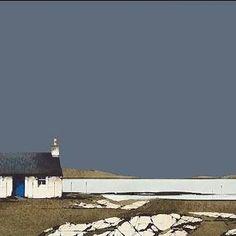 Bruairnis, Barra Abstract Landscape Painting, Seascape Paintings, Landscape Art, Landscape Paintings, Scotland Travel, Edinburgh Scotland, Ireland Travel, Scotland Culture, Watercolor Christmas Cards