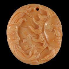 BG09315 # Amazing Handmade Carved  Gemstone Sun & Moon Red malachite Vintage Pendant Bead 1 Pcs