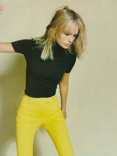 """supermodelgif: """" """"Yellow Fever"""", Amber Valletta by Craig McDean for Vogue UK, 1997 """""""