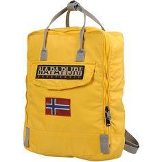 Napapijri Rucksacks & Bumbags (1.590 CZK) ❤ liked on Polyvore featuring bags, handbags, yellow, zip purse, zip bag, logo backpacks, yellow bags and back pack purse