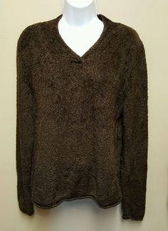 Croft & Barrow Large brown soft v neck sweater long sleeves #CroftBarrow #VNeck #Casual