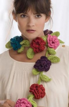 This is GREAT...I hope it's not too hard!    Crochet this Belle Fleur scarf in any color combination with free pattern.  Found via TipJunkie.com