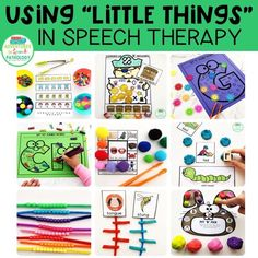 Using Little Things in speech therapy is a cheap and easy way to increase the range of activities in your speech room and increase engagement. Great for preschoolers or students who have fine motor goals. Preschool Speech Therapy, Articulation Therapy, Articulation Activities, Autism Activities, Speech Therapy Activities, Toddler Speech Activities, Preschool Songs, Language Activities, Motor Activities