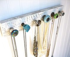 "Jewelry Storage / Wall Hooks / Necklace Rack ""beautiful Blues And Greens"" #622"