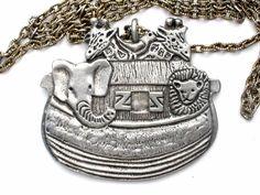 "Vintage Noah's Ark Silver Pendant Necklace 24"" Elephant Giraffe Lion Animals | Jewelry & Watches, Vintage & Antique Jewelry, Costume | eBay!"