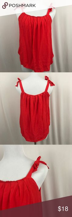 """Astr Red Shoulder Tie Tank Top Astr Red Shoulder Tie Blouse. Red Flowy Tank Top. Size Large. Full lined. Adjustable shoulder ties. 100% rayon. Bust measures 16"""". Length measures 20"""". Excellent preowned condition, like new. No trades, offers welcome. Nordstrom Tops Tank Tops"""