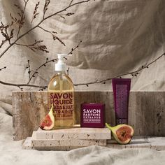 Compagnie de Provence's Extra Pur range features Fig of Provence with sweet-creamy notes of fig. The delicious fragrance can be found across the maroon-coloured range. Provence, Vodka Bottle, Fragrance, Notes, Range, Canning, Sweet, Food, Figs