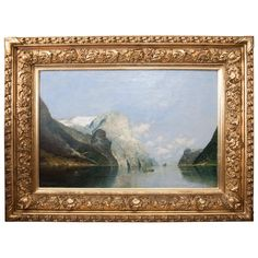Original nicely cast water gilt frame depicting a mountain and water scene , signed lower left. List Of Paintings, Modern Paintings, Baroque Painting, Painting Art, Frame Crafts, American Art, Oil On Canvas, Scene, Landscape