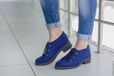 Купить Валяные полуботинки Лазурный город - тёмно-синий, синий, лазурный, валяные туфли
