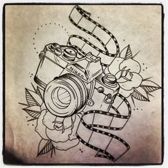Roses And Nikon Camera Tattoo Print
