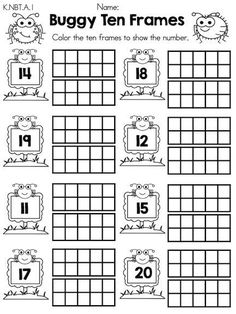 Buggy ten frames teen numbers part of the spring kindergarten math worksheets common core aligned printable Teen Numbers, Math Numbers, Number Worksheets Kindergarten, In Kindergarten, 1st Grade Math, Homeschool Math, Elementary Math, Math Classroom, Fun Math