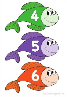 Number Chart with Preschool Fishes - Preschool Charts, Numbers Preschool, Learning Numbers, Preschool Colors, Kindergarten Learning, Preschool Learning Activities, Coloring For Kids, Coloring Pages, Human Body Science