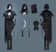 Artstation - assassin crow concept, seok jeon dark fantasy n Female Character Concept, Character Design Cartoon, 2d Character, Fantasy Character Design, Character Design Inspiration, Fantasy Armor, Dark Fantasy, Disney Animation, Fantasy Characters