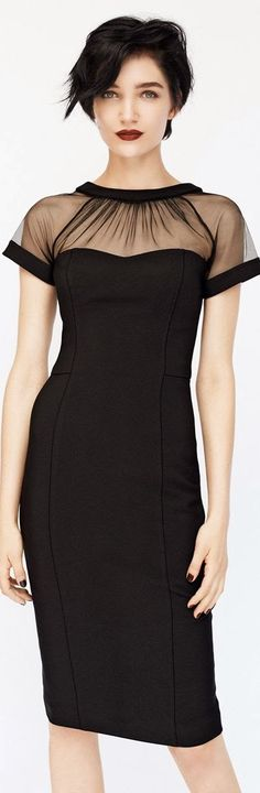 Sheer yoke little black dress. This would be really cute as a dressy tee too