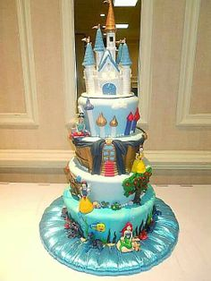Disney Princess cake love this idea just not princess jasmine.. Maybe mulan or Sofia