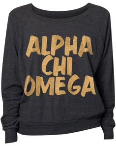 Alpha Chi Omega charcoal shirt with gold glitter writing