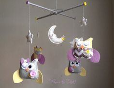 Baby mobile - Yellow and Purple Owl Mobile - For baby Girl - Customizable Nursery mobile