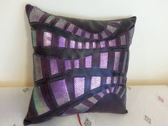 Leather throw pillow/purple by on Etsy Leather Throw Pillows, Pillow Arrangement, Colorful Pillows, Distressed Leather, Abstract Pattern, Looking Gorgeous, Deep Purple, Iridescent, Buy And Sell