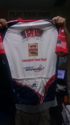 the official PJ's All Natural Beef Steak cycling jersey