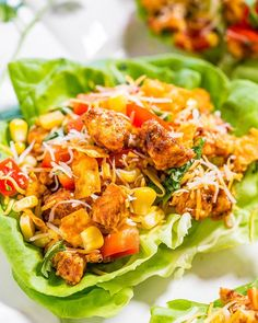 Chicken Tortilla Lettuce Wraps Made by @averiecooks . Follow her for more  @averiecooks . Ingredients:  2 tablespoons olive oil 1 pound boneless skinless chicken breasts cut into small pieces 3 tablespoons taco seasoning (use reduced sodium medium heat) 1 head butter lettuce 1 medium tomato diced small (used Roma vine-ripened or cherry tomatoes may be substituted) 1/2 cup red bell pepper diced small 1/2 cup corn (used frozen fresh may be substituted) 1 cup shredded cheese (used a Mexican…