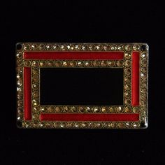 Vintage Art Deco Pierre Bex Rectangle Red Black Enamel Brooch Pin Trombone Clasp